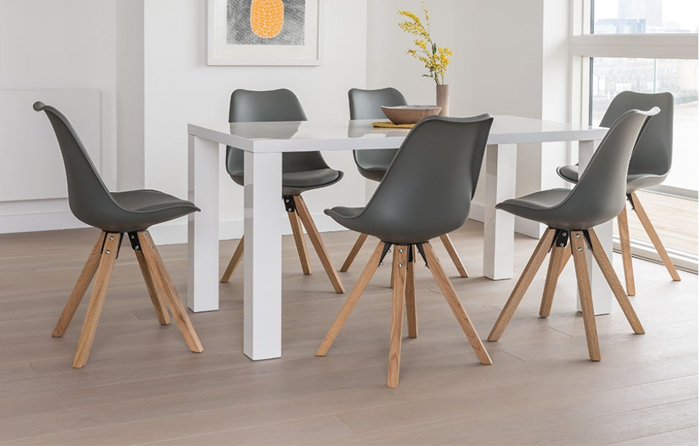Alexandra - Dining Set - 6 Seats - Grey