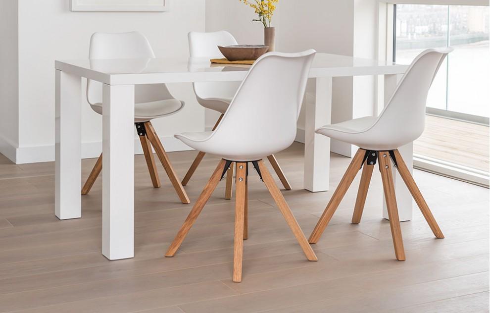 Alexandra - Dinerset - 4 stoelen - Wit
