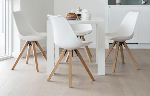 Alexandra – Essgruppe mit quadratischem Tisch – 4 Plätze – Weiß