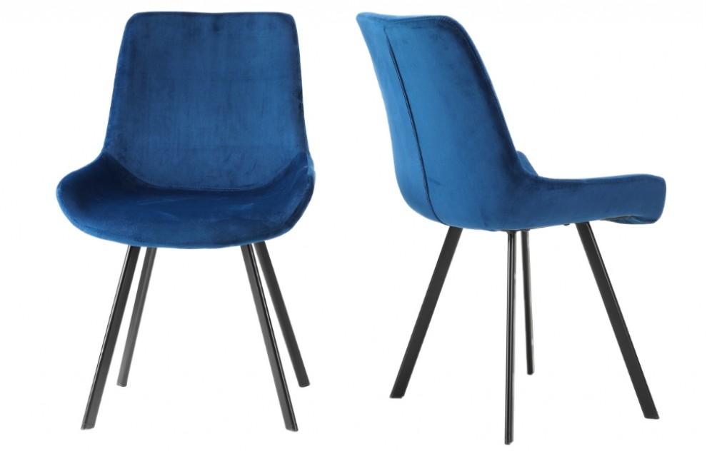 Aria – Velvet Chairs – Blue - Set of 2