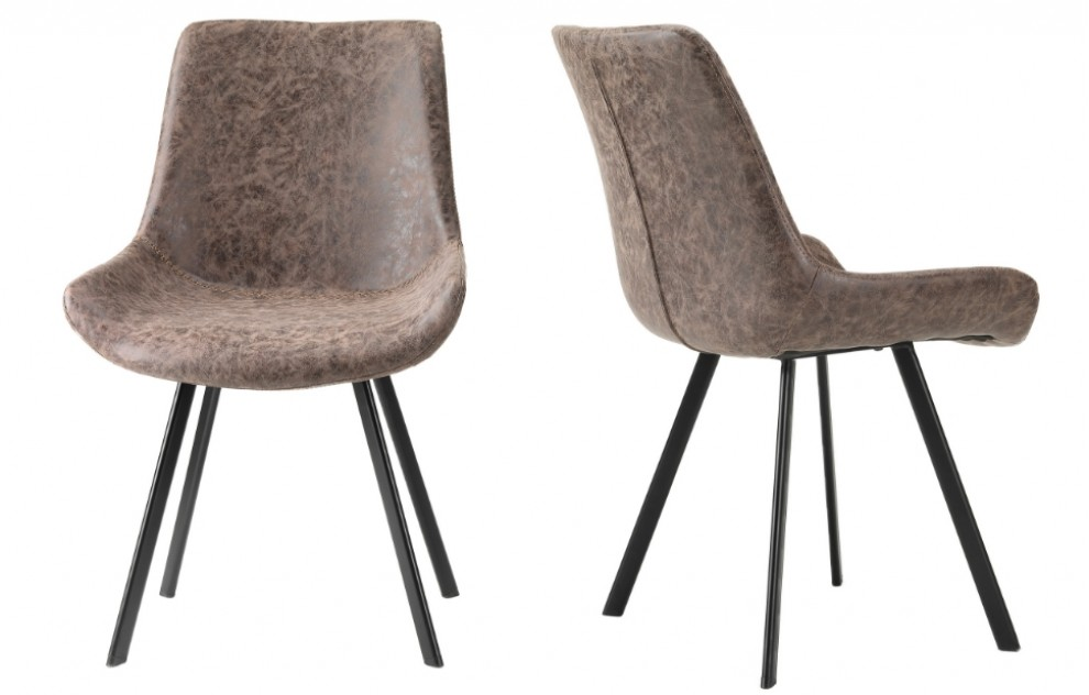 Aria – Vintage Leather Look Chairs – Brown - Set of 2