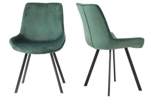 Aria – Velvet Chairs – Green - Set of 2