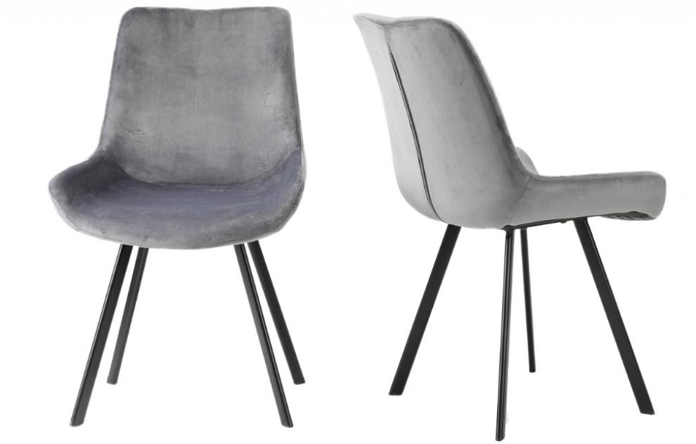 Aria – Fluwelen stoelen – Grijs – Set van 2