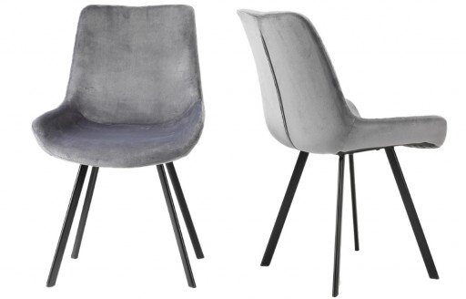 Aria – Velvet Chairs – Grey - Set of 2