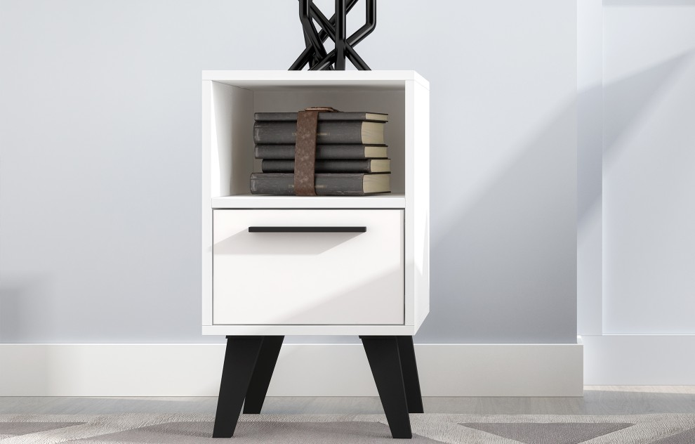 Aspen White Side Table With Drawer