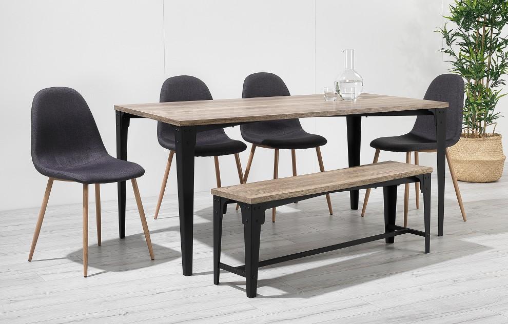 Astrid - industriële eethoek met bank - 6 stoelen - zwart