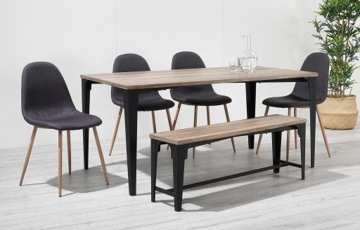Astrid –Industrial Bench Dining Set – 6 Seats - Black