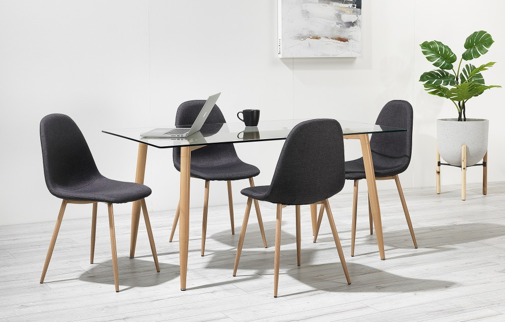 Astrid – Glass Dining Set – 6 Seats – Grey