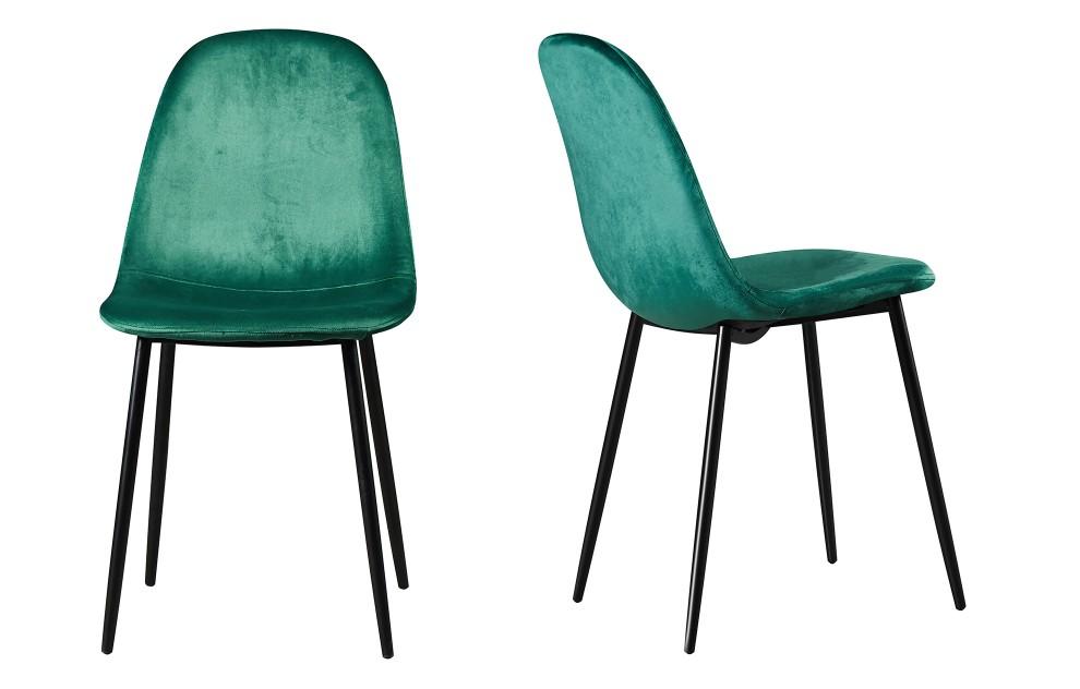 Astrid – fluwelen stoelen – groen – set van twee