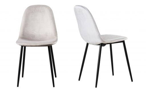 Astrid - Fluwelen stoelen - grijs - set van 2