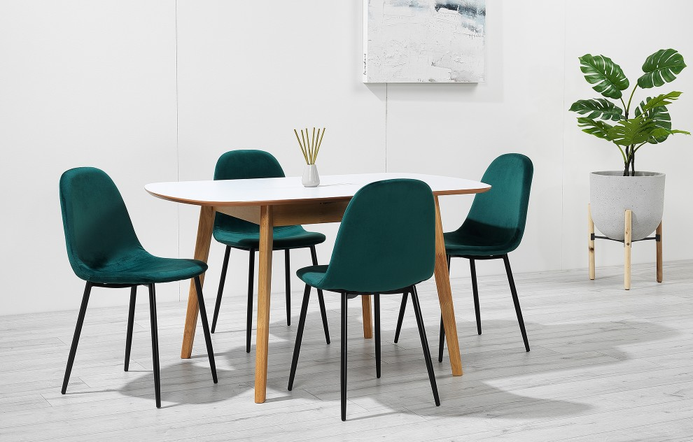 Astrid – Extendable Dining Set - 4 Seats – Green Velvet
