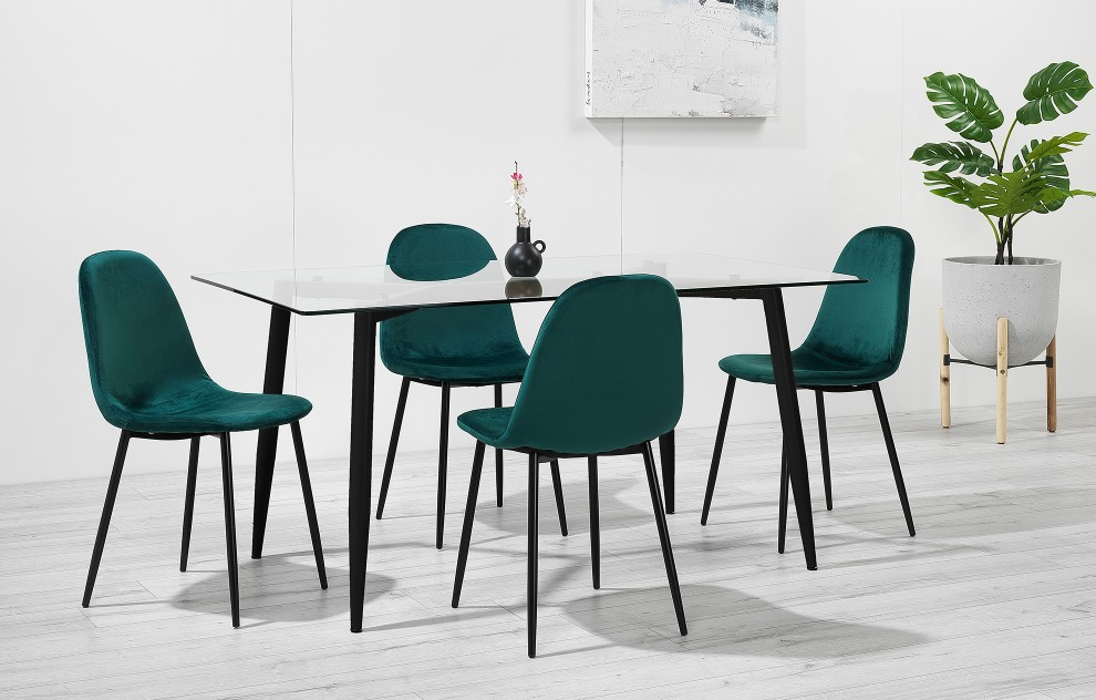Astrid – Glass Dining Set - 4 Seats – Green Velvet