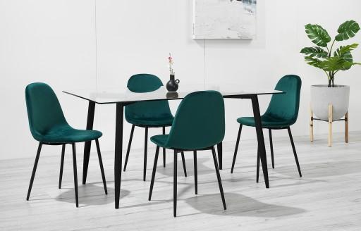 Astrid - Glazen eetkamerset - 4 zitplaatsen - groen fluweel