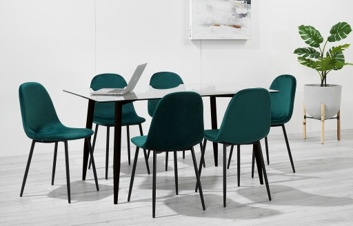 Astrid - Esszimmergarnitur aus Glas - 6 Stühle - grüner Samt