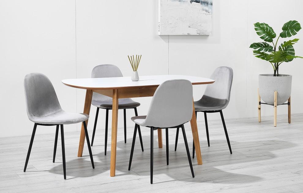Astrid - uitschuifbare diner set - 4 stoelen -  fluweel grijs