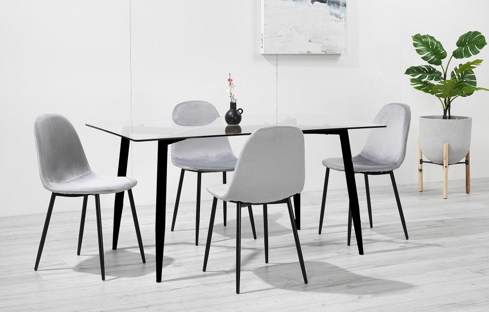 Astrid – Glass Dining Set - 4 Seats – Grey Velvet