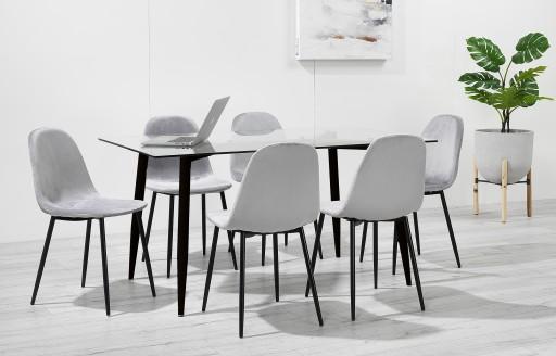 Astrid – Essgruppe mit Glastisch – 6 Stühle – Grauer Samt