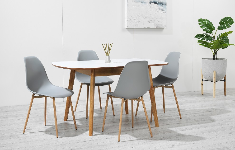 Astrid – Extendable Dining Set - 4 Seats – Grey Resin