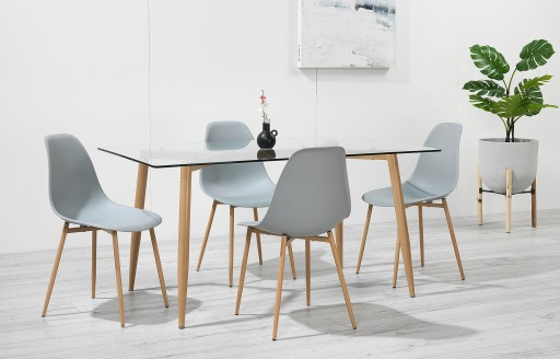 Astrid – Glass Dining Set - 4 Seats – Grey Resin
