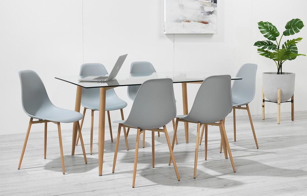 Astrid – Glass Dining Set - 6 Seats – Grey Resin