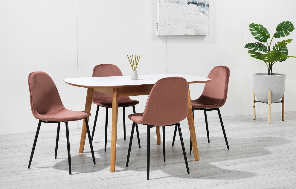 Astrid – Extendable Dining Set - 4 Seats – Pink Velvet