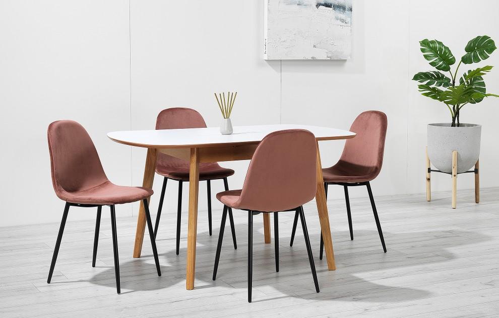 Astrid - uitbreidbare dinerset - 4 stoelen - roze fluweel