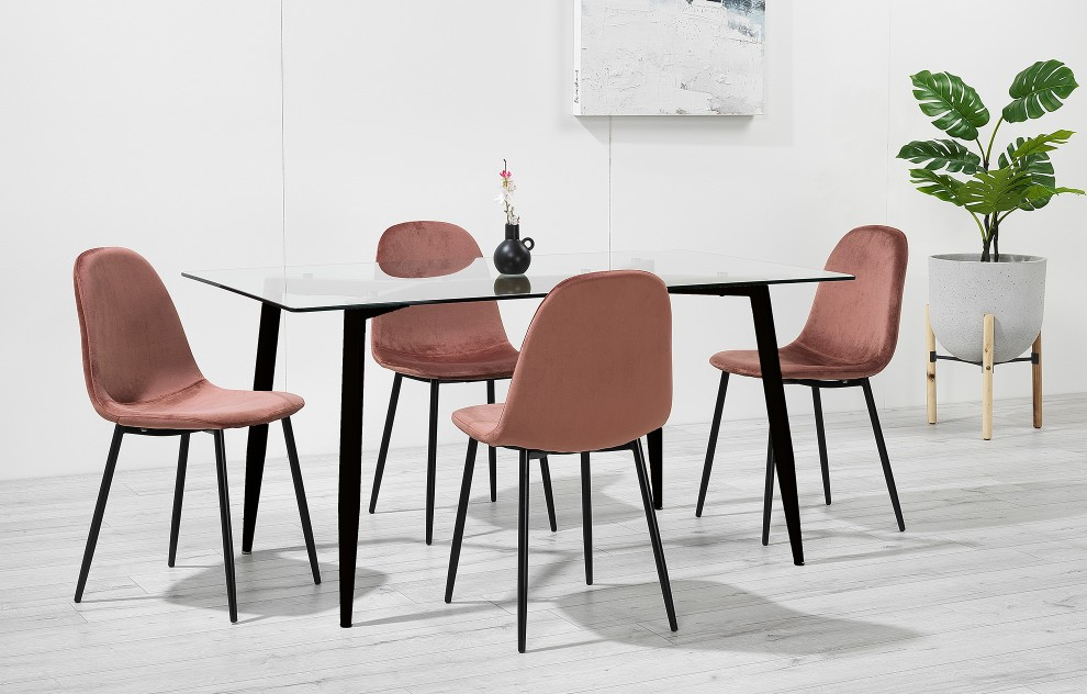 Astrid – Glass Dining Set - 4 Seats – Pink Velvet