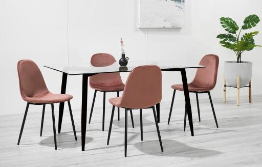 Astrid – Eethoek van glas - 4-zits – Roze fluweel