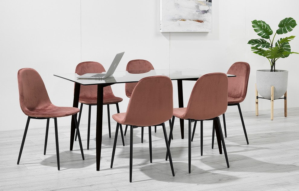 Astrid – Glass Dining Set - 6 Seats – Pink Velvet
