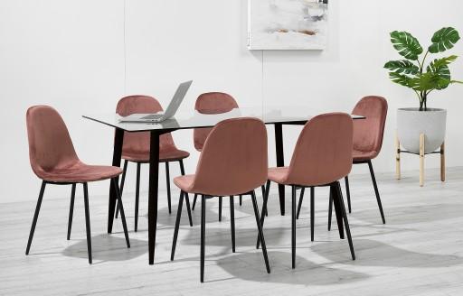 Astrid - Essgruppe mit Glastisch - 6 Stühle - rosa Samt