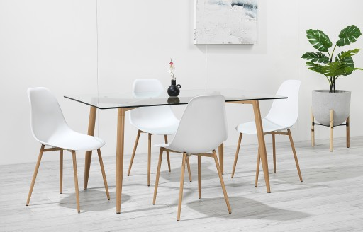Astrid – Glass Dining Set - 4 Seats – White Resin