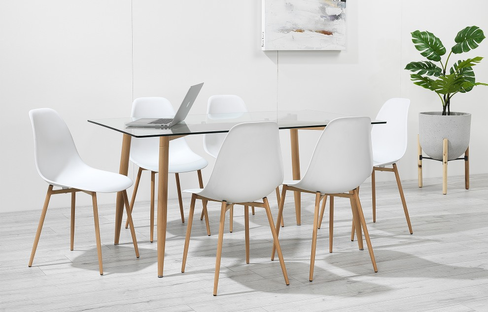 Astrid – Glass Dining Set - 6 Seats – White Resin