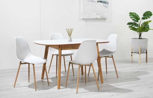 Astrid – Extendable Dining Set - 4 Seats – White Resin