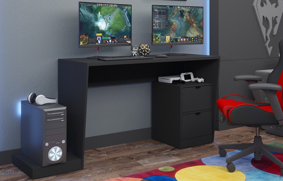 Zwart gamebureau met opslagkast - 173 cm