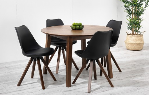 Bojan – Round Walnut Dining Set – 4 Seats - Black