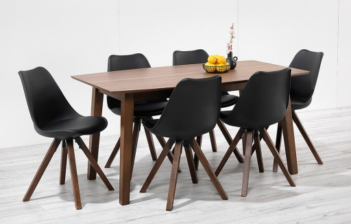 Bojan – 150cm Walnut Dining Set – 6 Seats - Black