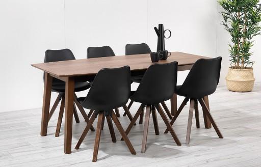 Bojan – 180cm Walnut Dining Set – 6 Seats - Black