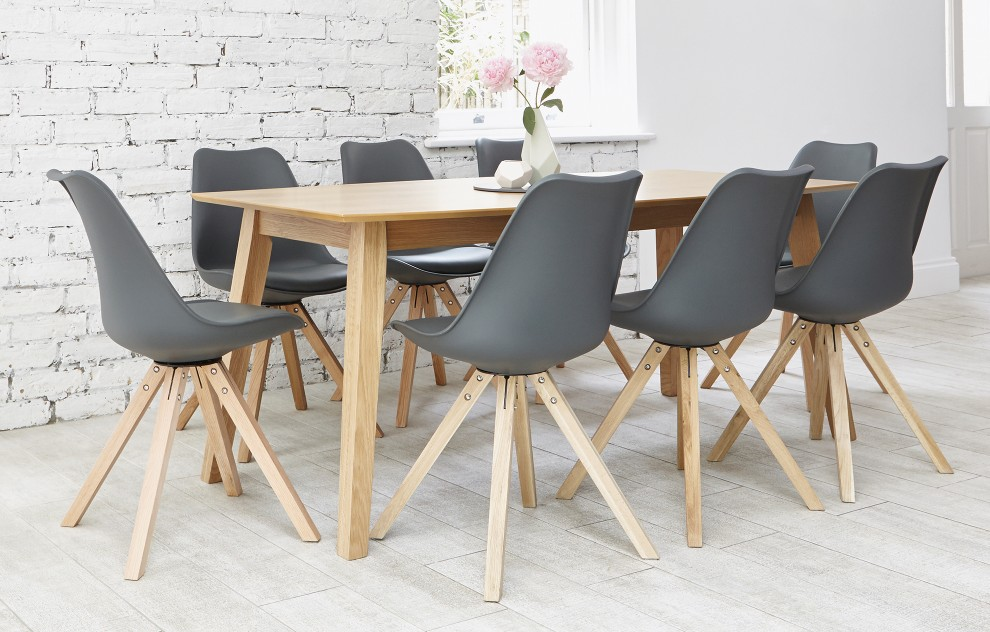 Bojan - eettafelset - 8 stoelen - grijs