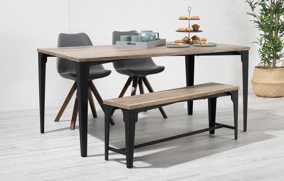 Bojan – Industrial Bench Dining Set – 4 Seats - Grey