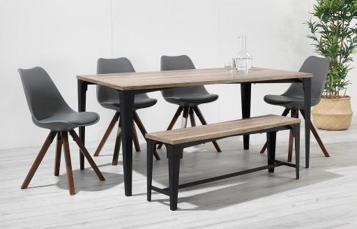 Bojan - industriële eettafelset met bank - 6 zitplaatsen - grijs