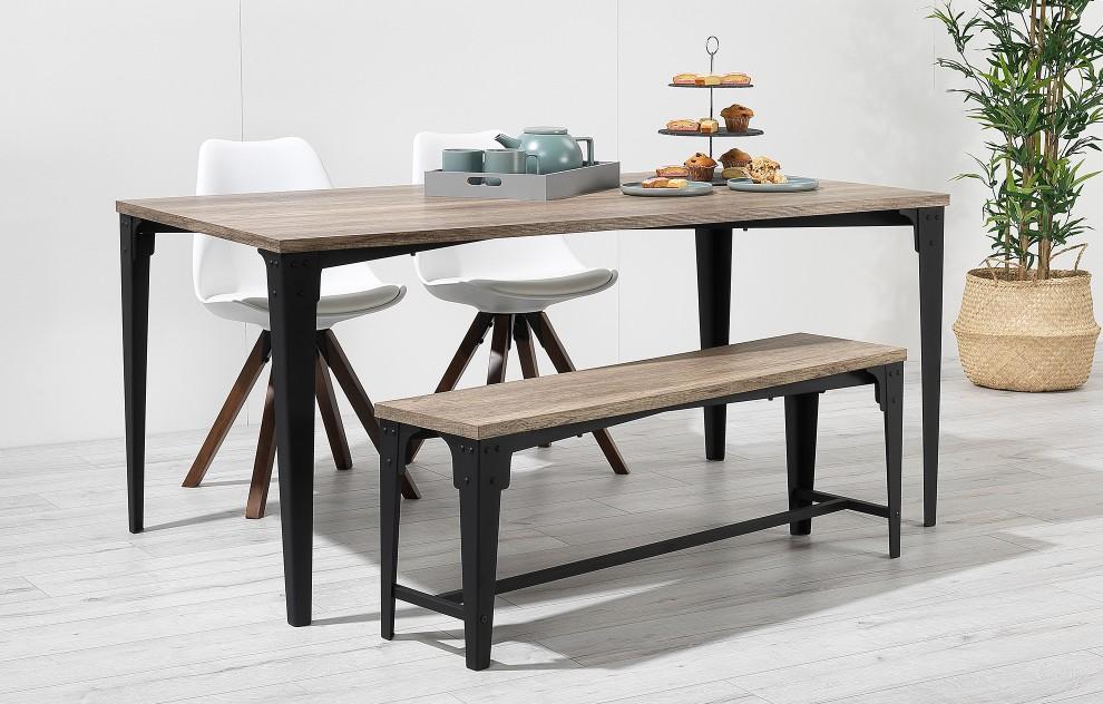 Bojan – Industrial Bench Dining Set – 4 Seats - White