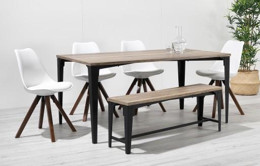 Bojan – Essgruppe mit Bank im Industriedesign – 6 Sitzgelegenheiten – Weiß