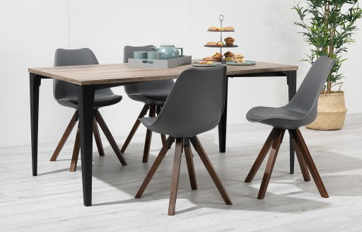 Bojan - Industriële eetkamerset - 4 stoelen - grijs