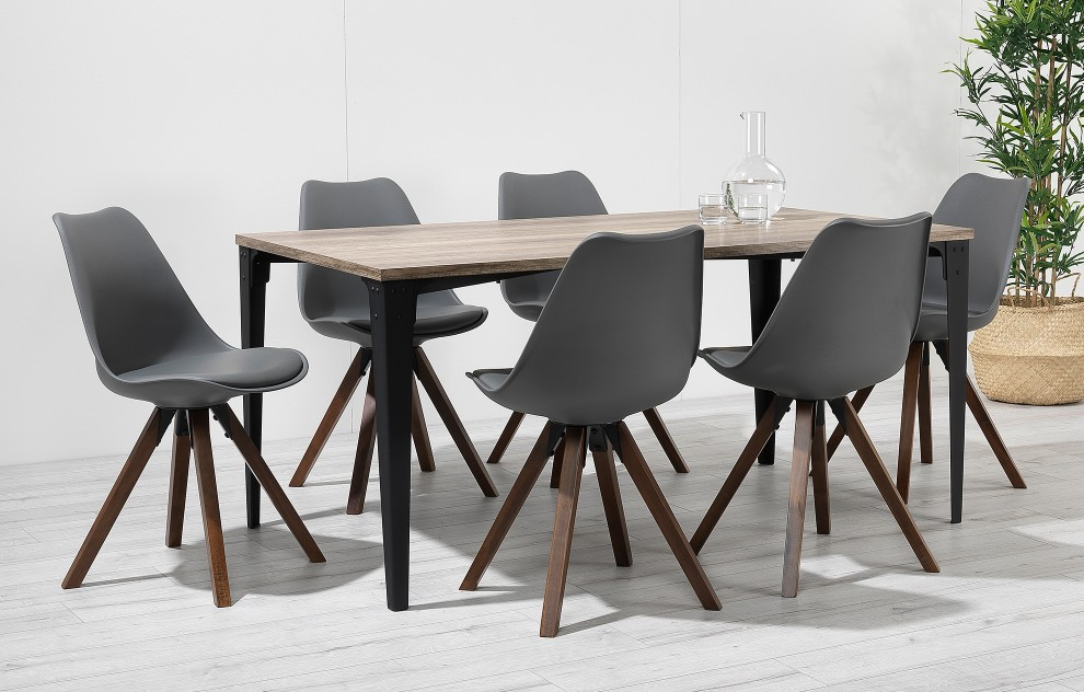 Bojan – Industrial Dining Set – 6 Seats - Grey