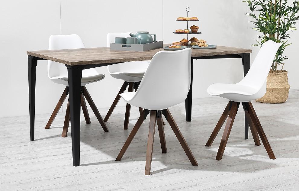 Bojan - Industriële eetkamerset - 4 zitplaatsen - Wit