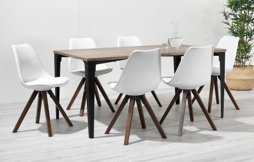 Bojan - industriële eethoek - 6 zitplaatsen - wit