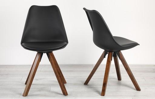 Bojan – Stuhl mit Beinen in Walnuss-Optik – Schwarz – 2er-Set