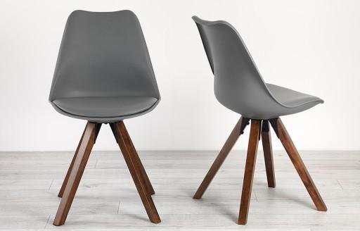 Bojan – Walnut Bucket Chairs - Grey - Set of 2
