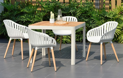Cannes – Garden Dining Set – 4 Seats - White