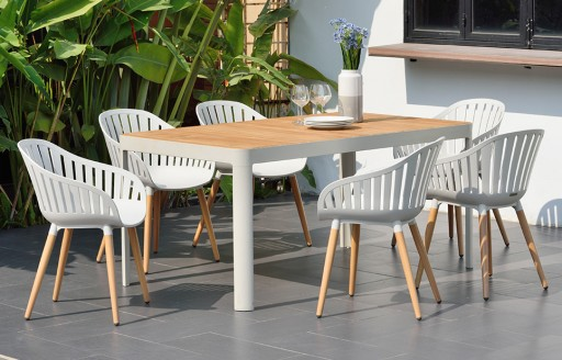 Cannes – Garden Dining Set – 6 Seats - White